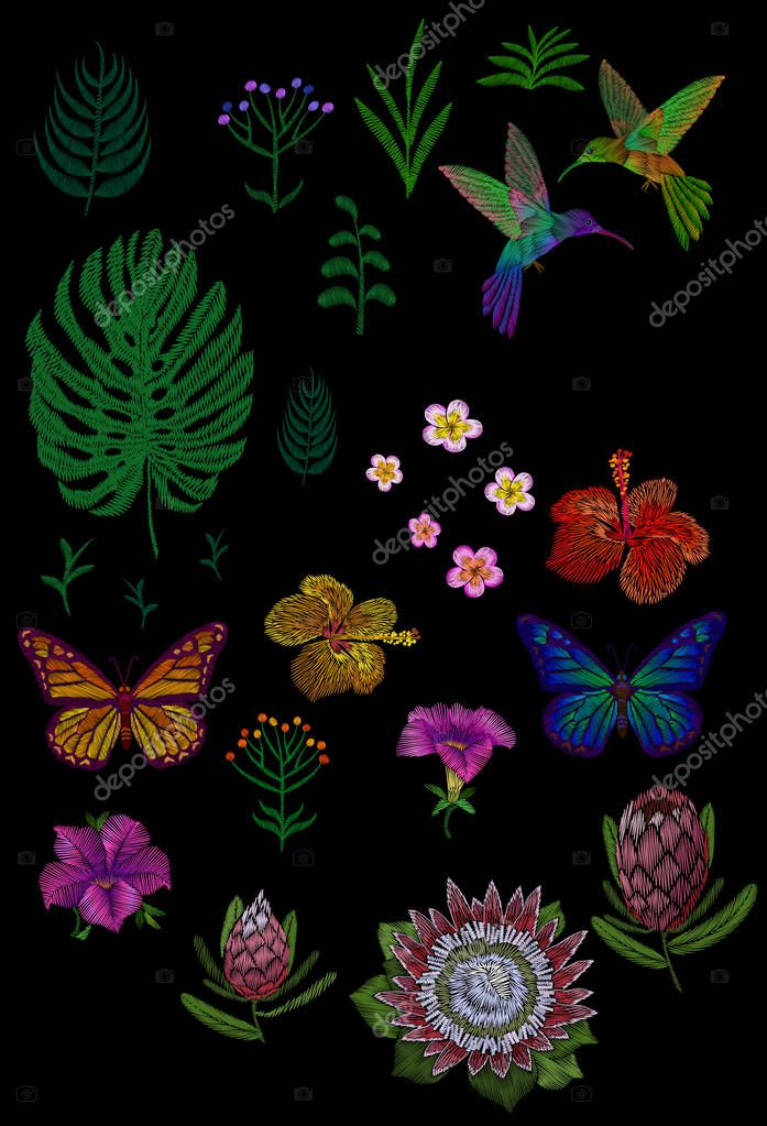 Custom tropic flower design. Set isolated exotic flower leaves plant, hummingbird butterfly. Monstera palm hibiscus petunia protea vintage embroidery patch sticker vector illustration