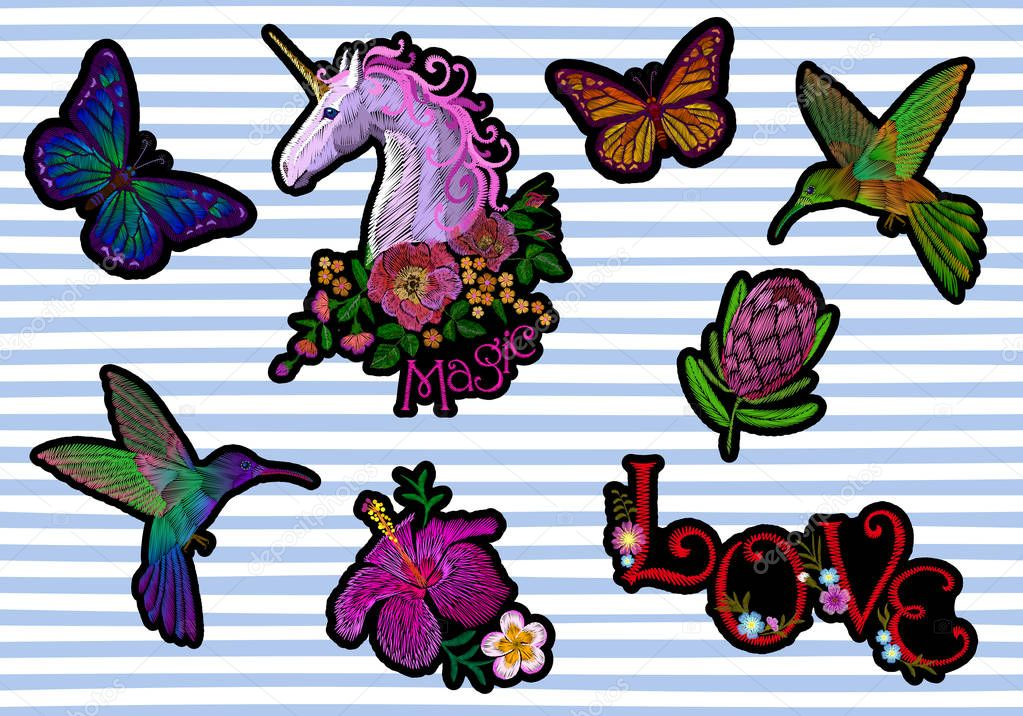 Set sticker badges embroidery patch. Unicorn flower hummingbird butterfly tropical exotic blossom floral icon. Protea hibiscus vector illustration collection