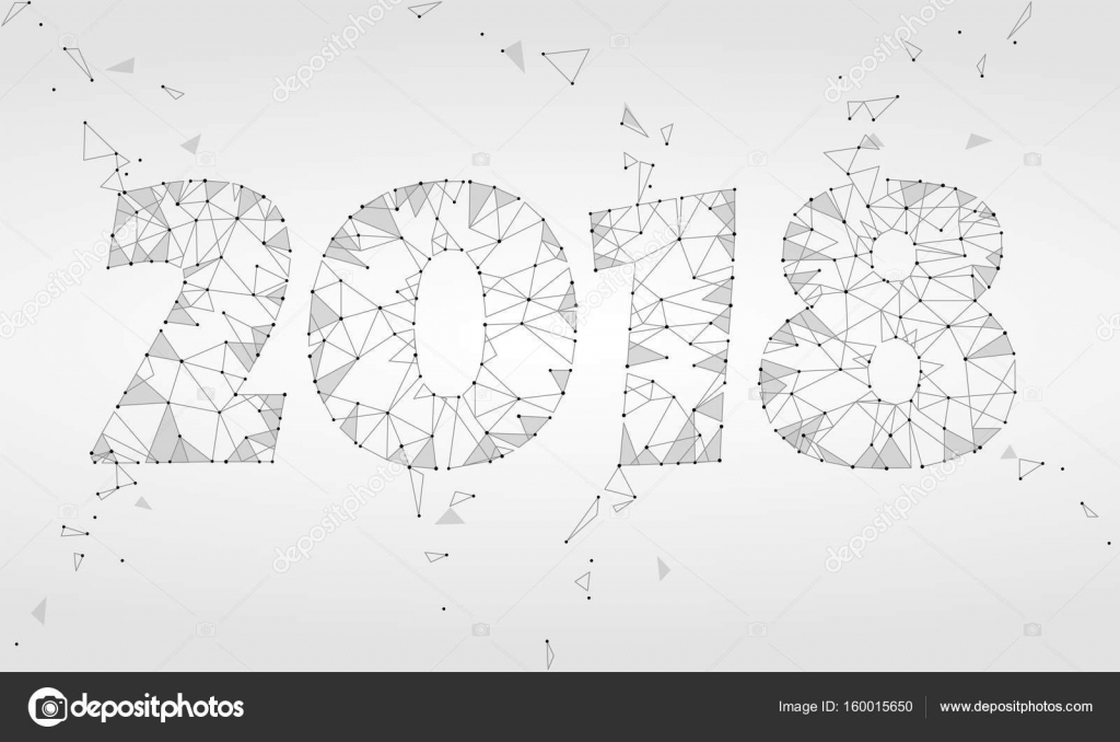 Geometrische polygonalen 2018 Neujahrs-Grußkarte. Low-Poly Dreieck ...
