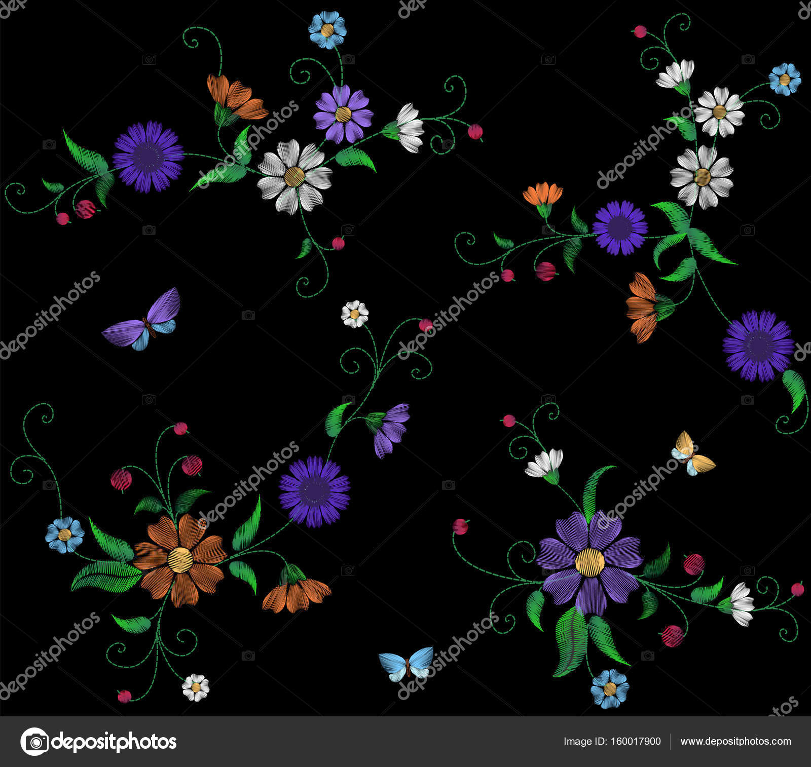 Floral Blue Violet Daisy Embroidery Seamless Pattern Vintage Victorian Flower Ornament Fashion Textile Decoration Stitch Texture Vector Illustration Art