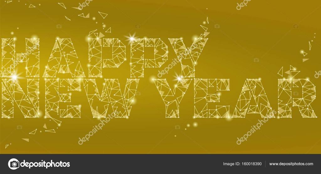 Geometric Polygonal 2018 New Year Greeting Card Low Poly Triangle