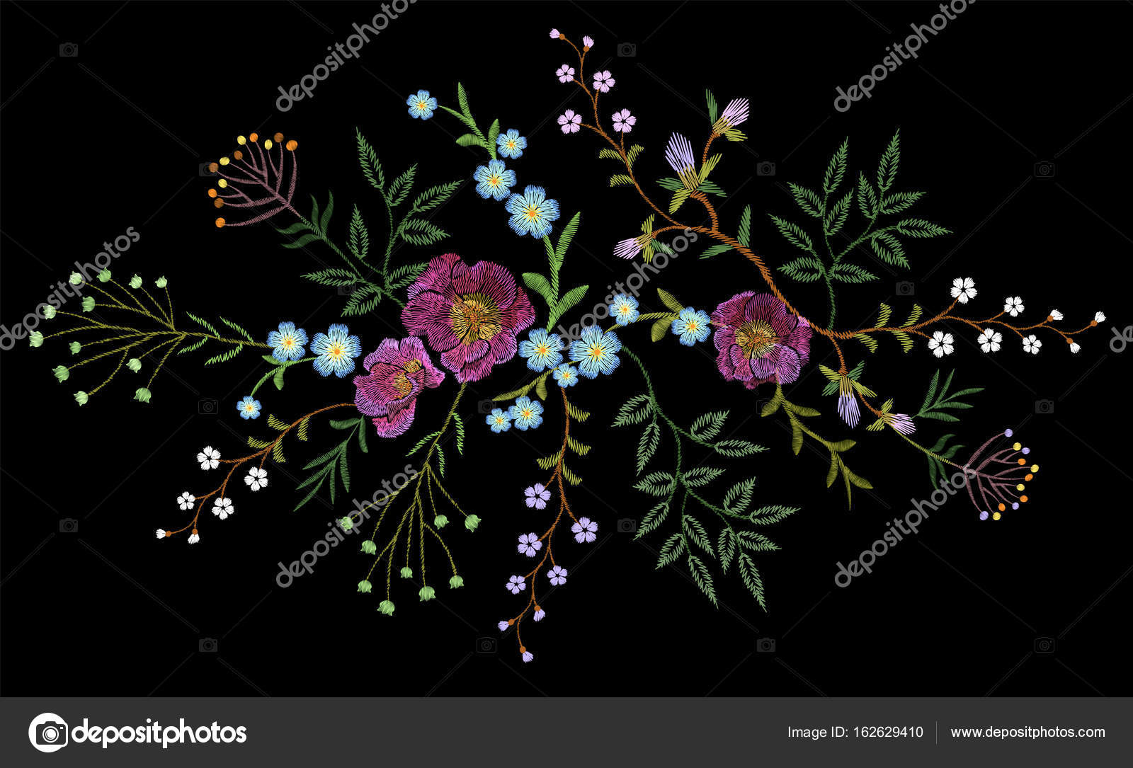 Embroidery Trend Floral Pattern Small Branches Herb Rose With Little Blue Violet Flower Ornate Traditional Folk Fashion Patch Design Neckline Blossom On Black Background Vector Illustration Stock Vector C Goodluckwithus 162629410