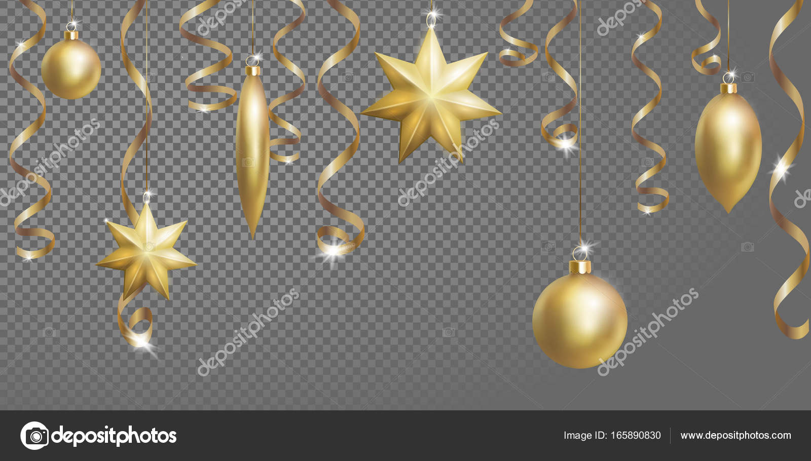 christmas seamless border banner template ball fir toys star golden silver sparkle serpentine streamer new year tree decoration gold transparent grid 3d