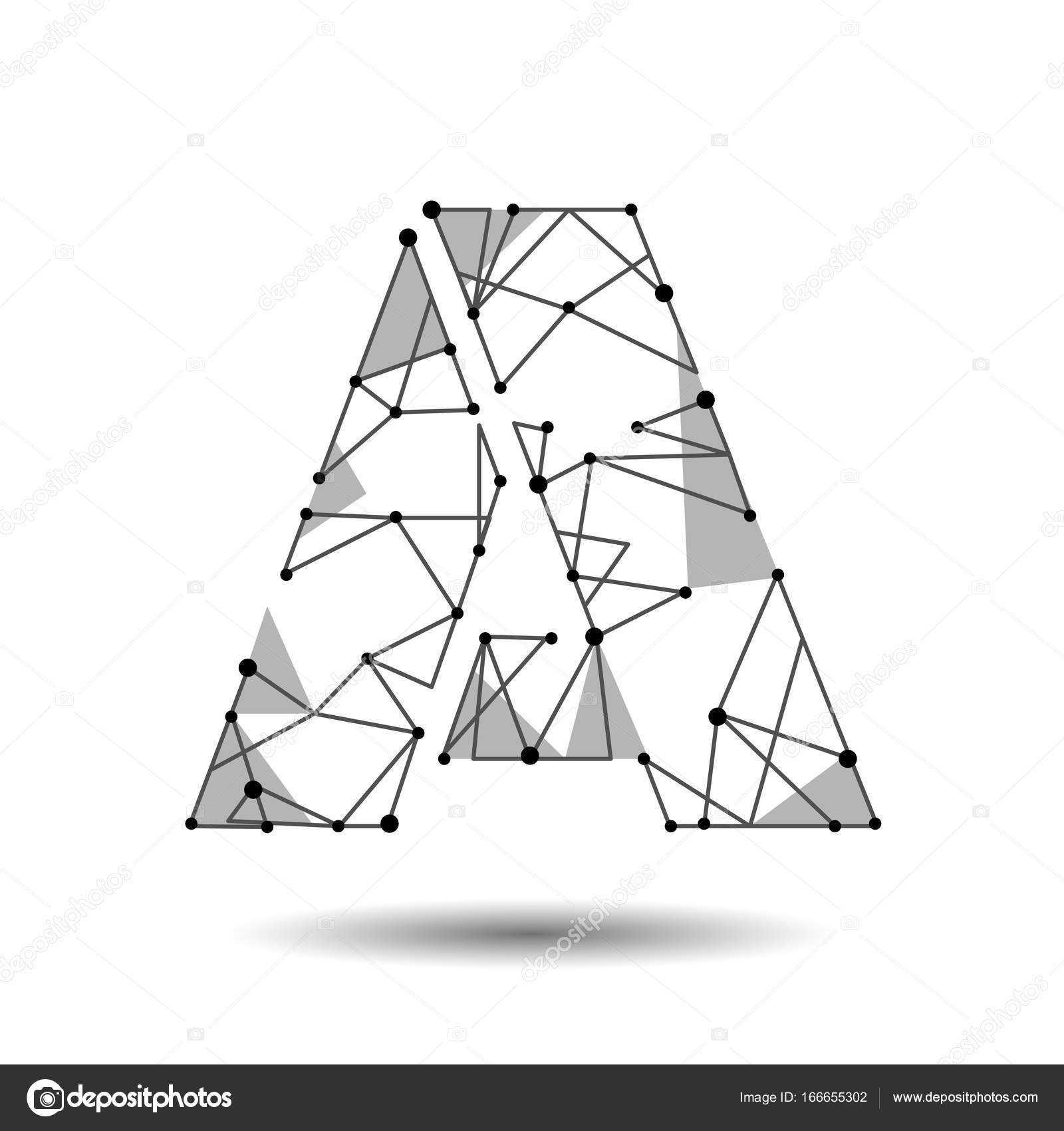 Low poly letter a english latin cyrillic polygonal triangle connect low poly letter a english latin cyrillic polygonal triangle connect dot point line black white 3d structure model font type vector logo illustration art thecheapjerseys Images