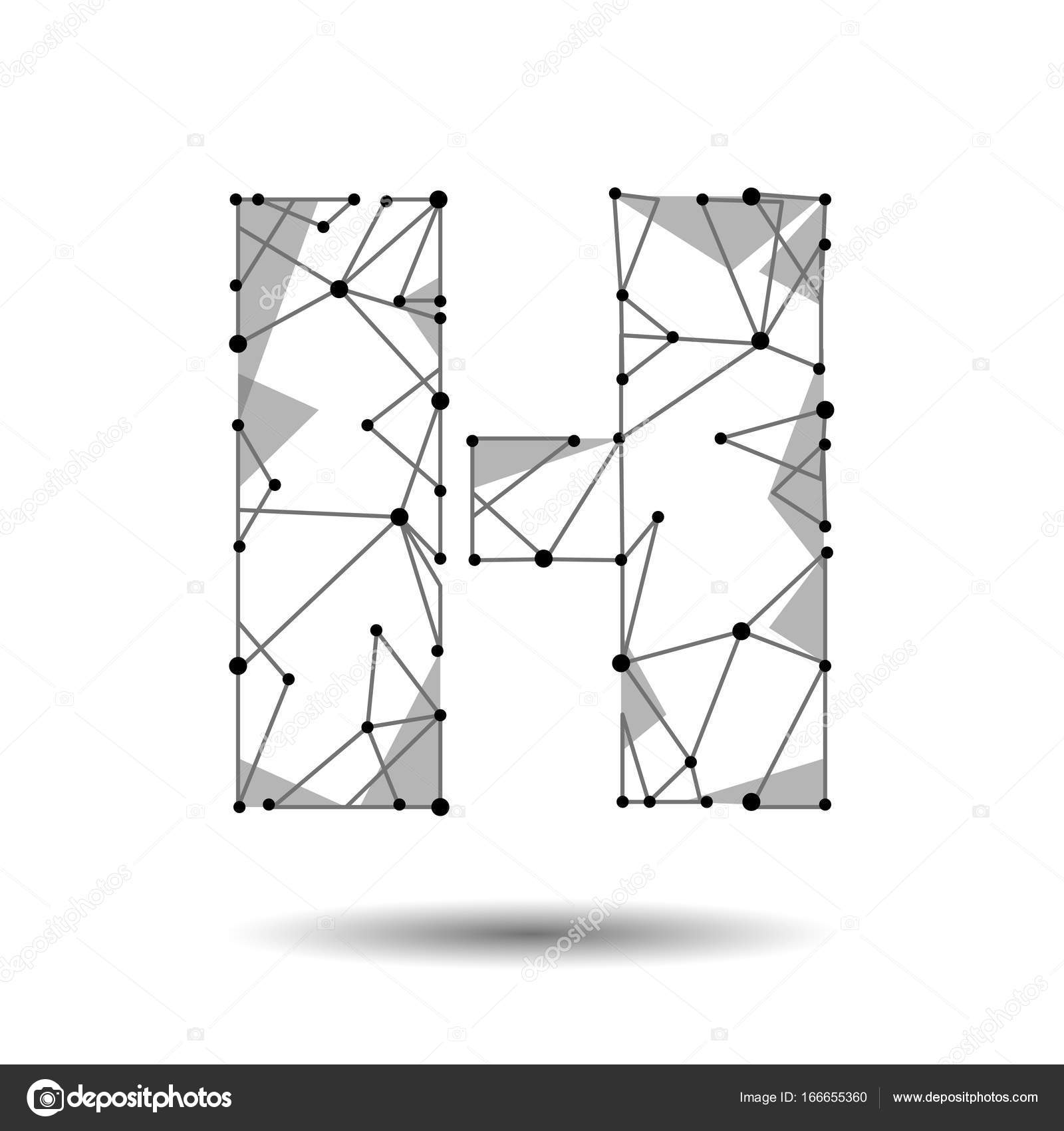Low poly letter h english latin cyrillic polygonal triangle connect low poly letter h english latin cyrillic polygonal triangle connect dot point line black white 3d structure model font type vector logo illustration art altavistaventures Image collections