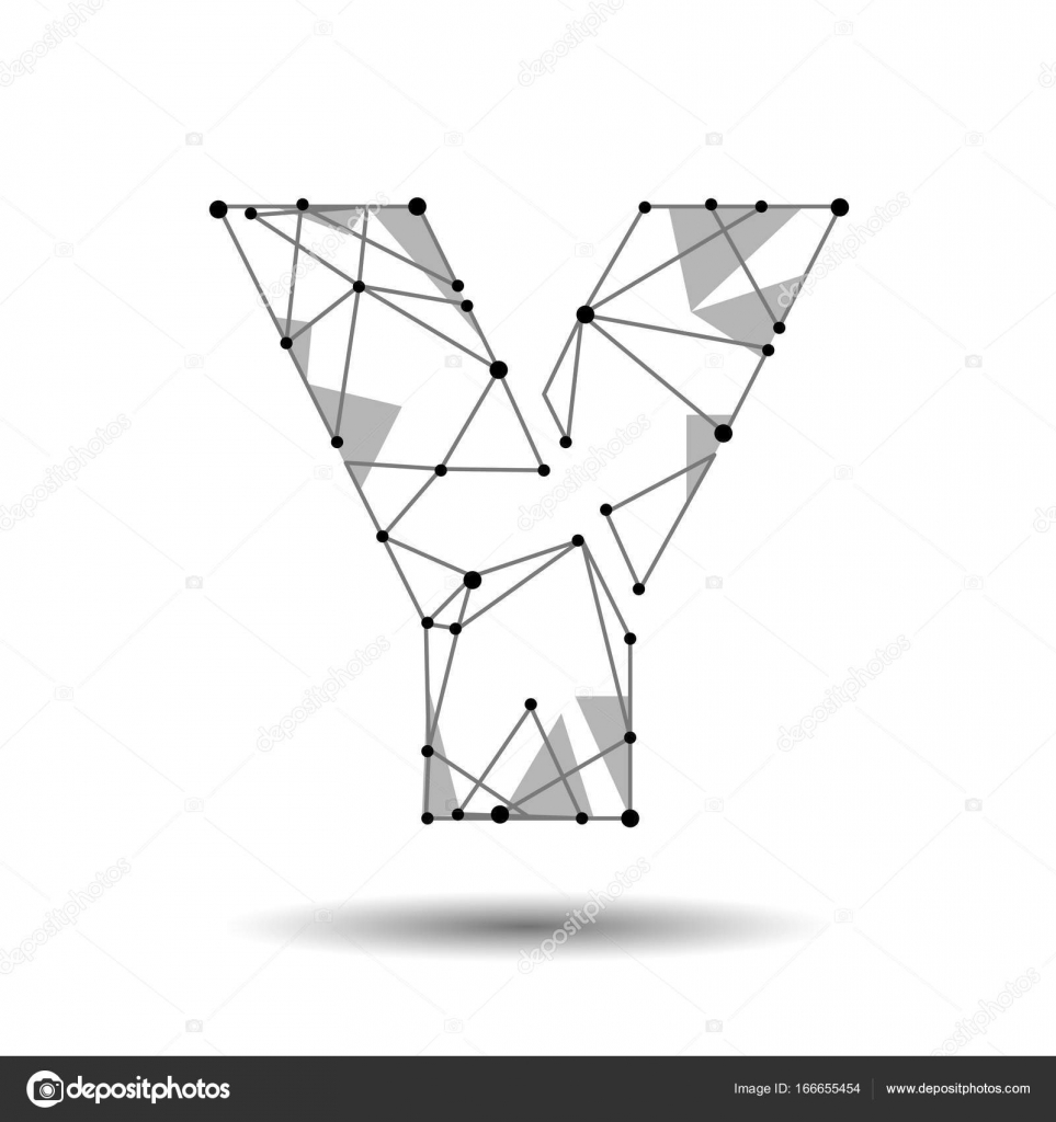 Low poly letter y english latin polygonal triangle connect dot low poly letter y english latin polygonal triangle connect dot point line black white 3d structure model font type vector logo illustration art vector thecheapjerseys Image collections