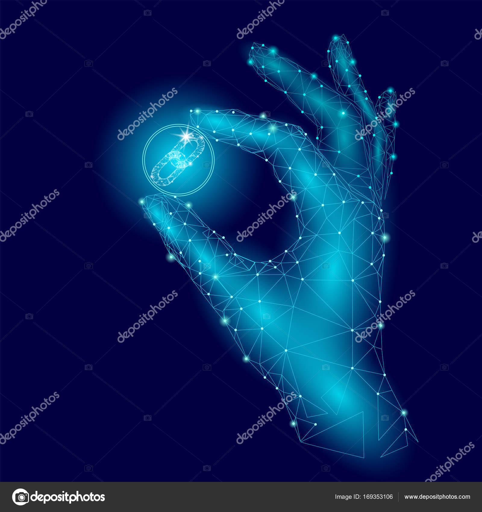 Low poly hand hold blockchain link symbol carefully polygonal low poly hand hold blockchain link symbol carefully polygonal triangle connected dot point blue cryptocurrency buycottarizona Image collections