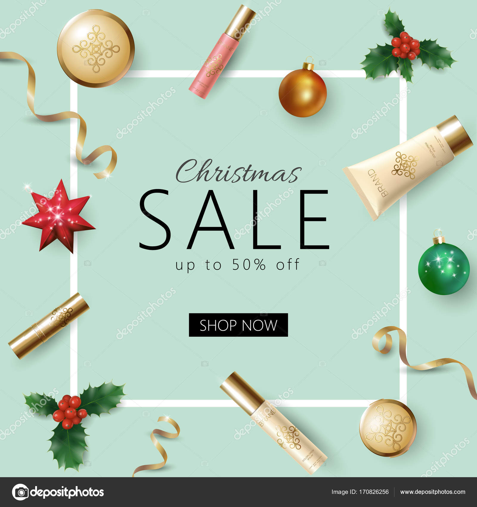 Realistic 3d Christmas Holiday Sale Web Banner Template Cosmetic Makeup Product Ad Decoration Holly Branches New Year Special Offer Square Frame Promotional Poster Vector Illustration Stock Vector C Goodluckwithus 170826256