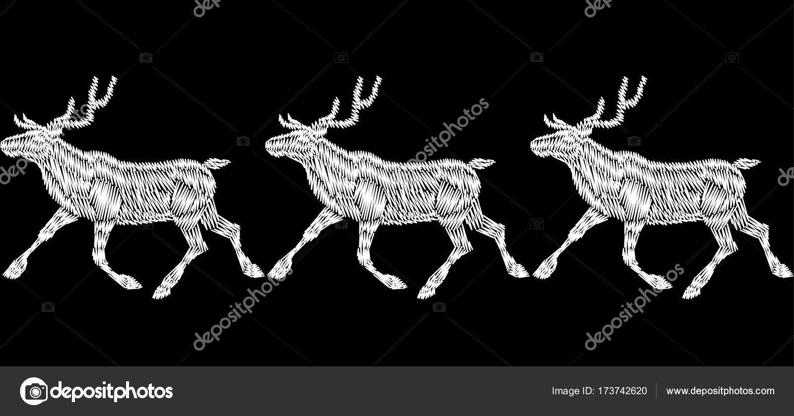 reindeer christmas sleigh gift delivery embroidery seamless bordermonochrome white black new year fashion decoration