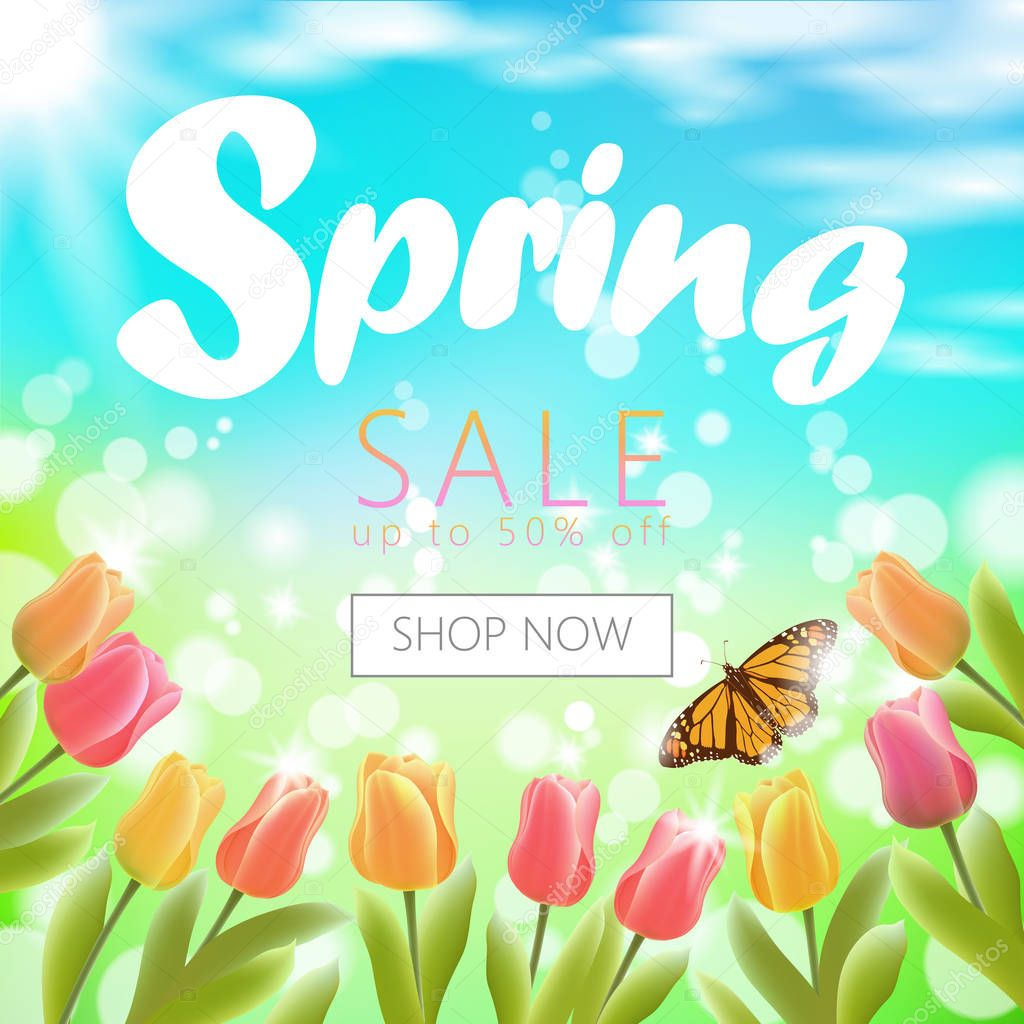 Realistic 3d spring sale script lettering web banner template. Color tulip flowers butterfly grass blue sky blue background shop now promotional square social poster vector illustration