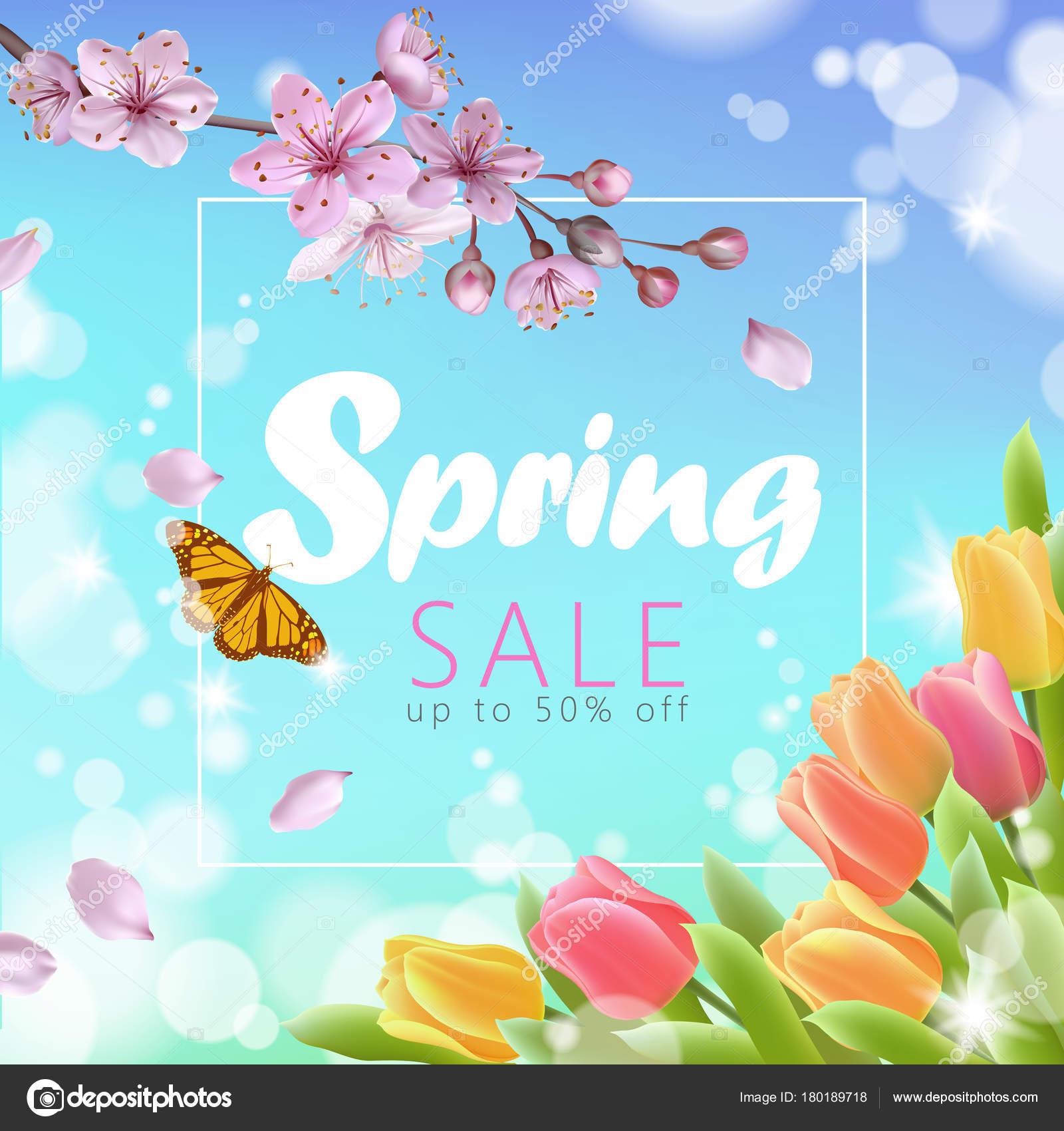 Realistic 3d spring sale script lettering web banner template. Color ...