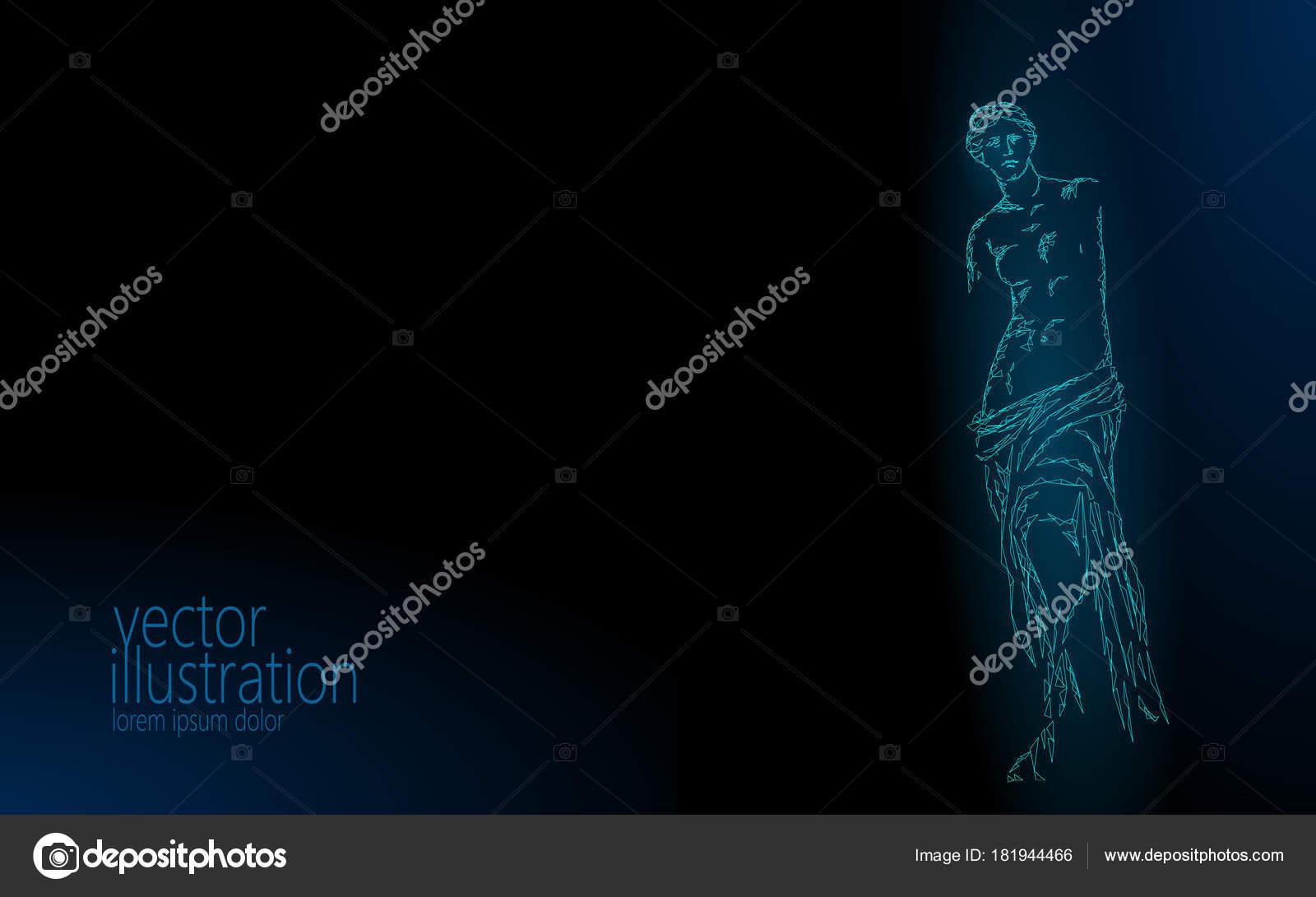 Aphrodite of milos venus de milo ancient greek statue low poly aphrodite of milos venus de milo ancient greek statue low poly modern concept polygonal triangle point line dark blue background museum poster template voltagebd Choice Image