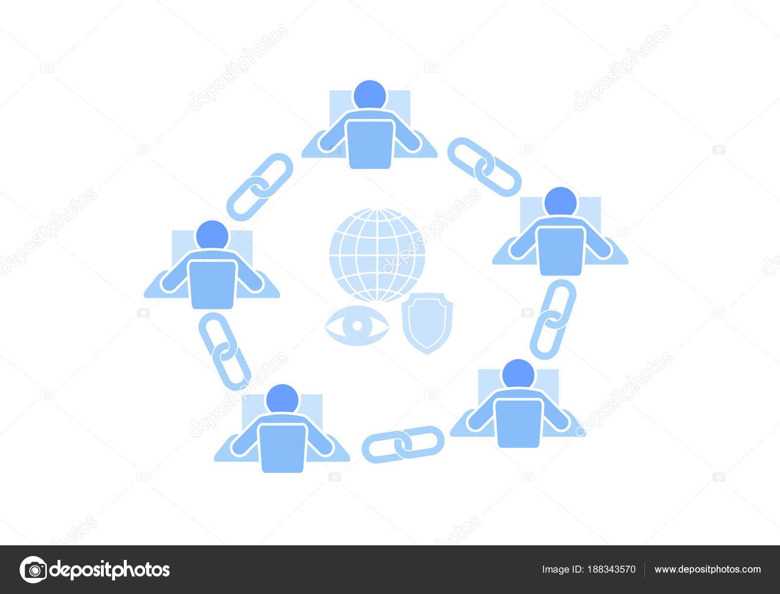 Blockchain Link Zeichen Verbindung flache Bauweise. Internet ...