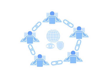 Blockchain link sign connection flat design. Internet technology chain icon hyperlink security business network concept. Blue futuristic style wire connected point vector illustration