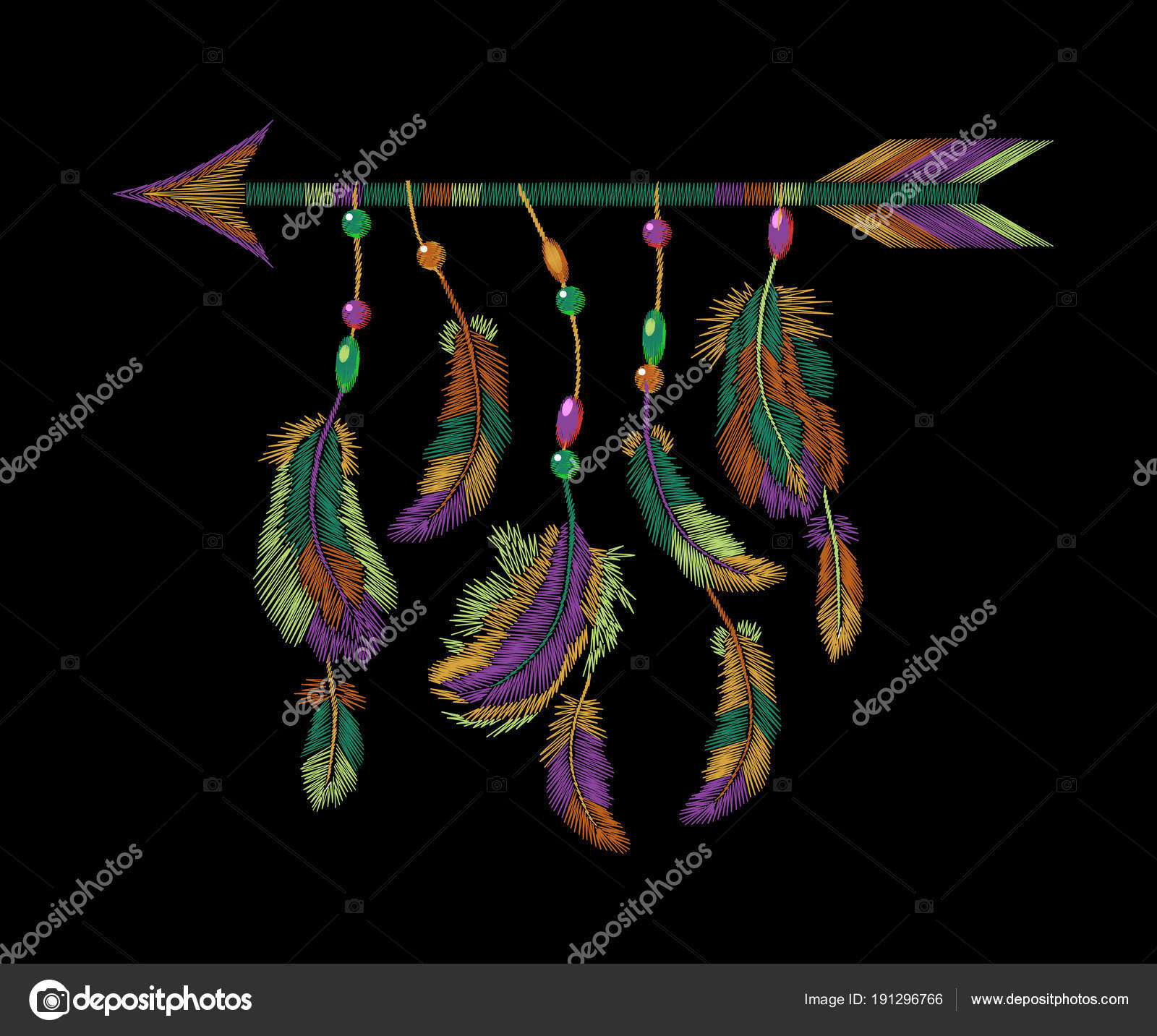 Bordado de flecha de plumas de colores. Boho tribal ropa indio ...