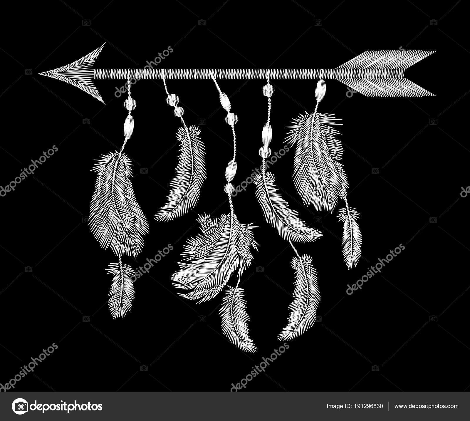 Bordado de flecha de plumas blanco monocromo. Boho ropa tribal indio ...