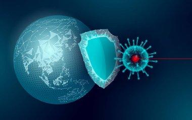 Dünya gezegeni Çin salgını. Sağlık güvenliği zatürresi tedavi kalkanı koronavirüsü. Asya kıtası virüs koruma aşı geliştirme araştırma vektörü çizimi