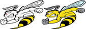 Photo Super Bee Speed Flying delivery. Bee Boxing Mascot for sport teams. Great for t-shirt designs, business mascot logo and any other design work. Ready for car paint or sticker vinyl cutting.