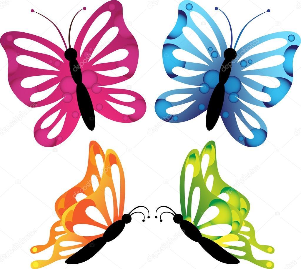 Dibujos Mariposas Dibujo Colorida Mariposa Set Iconos Dibujos