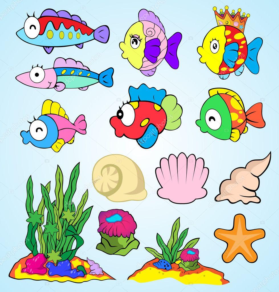 Insieme Di Elementi Di Disegno Di Vita Subacquea Mare Pesce Di Mare