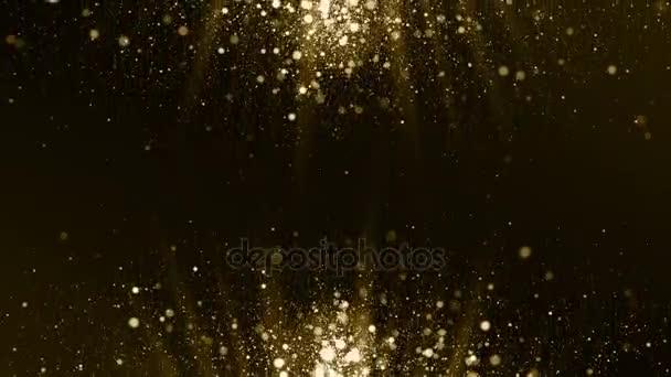 Részecskék arany bokeh glitter por absztrakt háttér hurok díjak