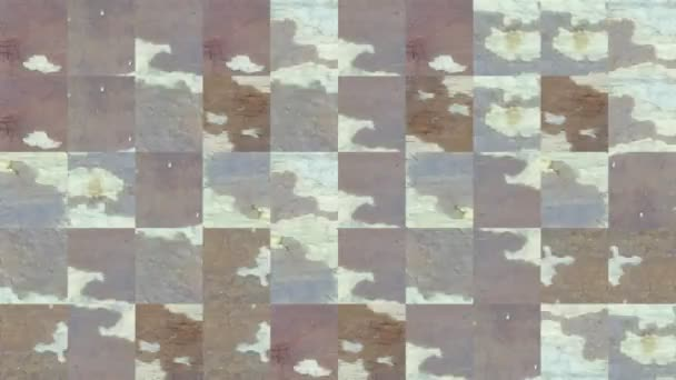 Abstract video of mosaic textures from fragments of a brown frayed wooden board. Background design. Backdrop. Wallpaper.