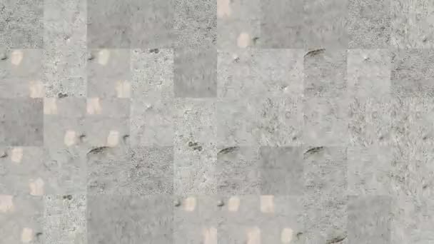 Abstract video of mosaic textures from fragments of a cement wall in gray paint. Background design. Backdrop. Wallpaper.