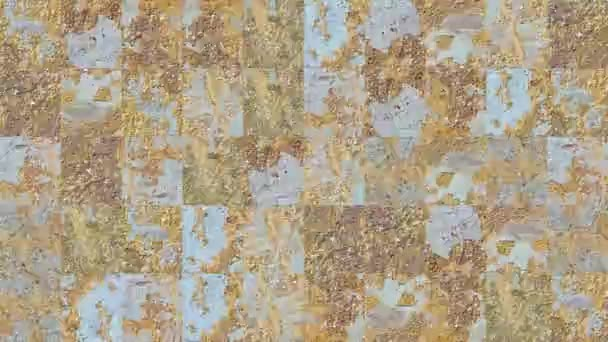 Abstract video of mosaic textures from fragments of a metal wall in green paint with rusty spots. Background design. Backdrop. Wallpaper.
