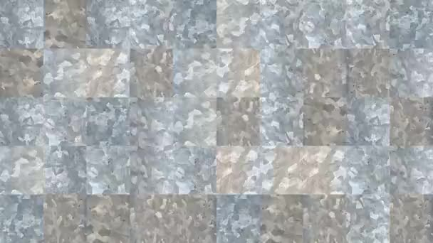Abstract video of mosaic textures from elements of a gray metal corrugated sheet. Background design. Backdrop. Wallpaper.