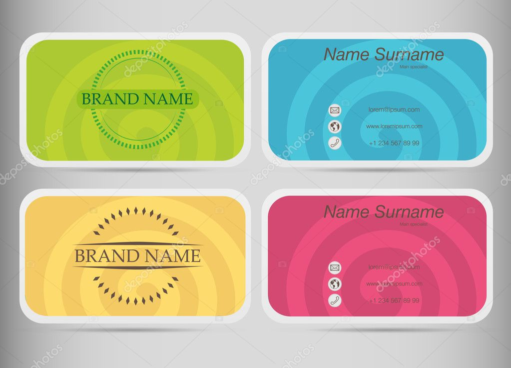 Business card set template flat design colored spirals vetor de business card set template flat design colored spirals vetor de stock reheart Image collections