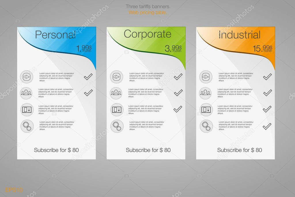 three banner for the tariffs and price lists web elements plan