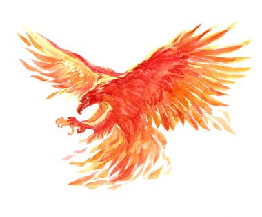 Watercolor single character mystical mythical character phoenix isolated