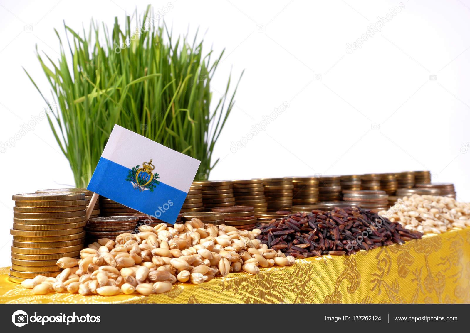 San Marino bandera ondeando con pila de dinero monedas y pilas de trigo — Foto de Stock