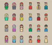 Fotografia uomini e donne avatar piatto vector icon set