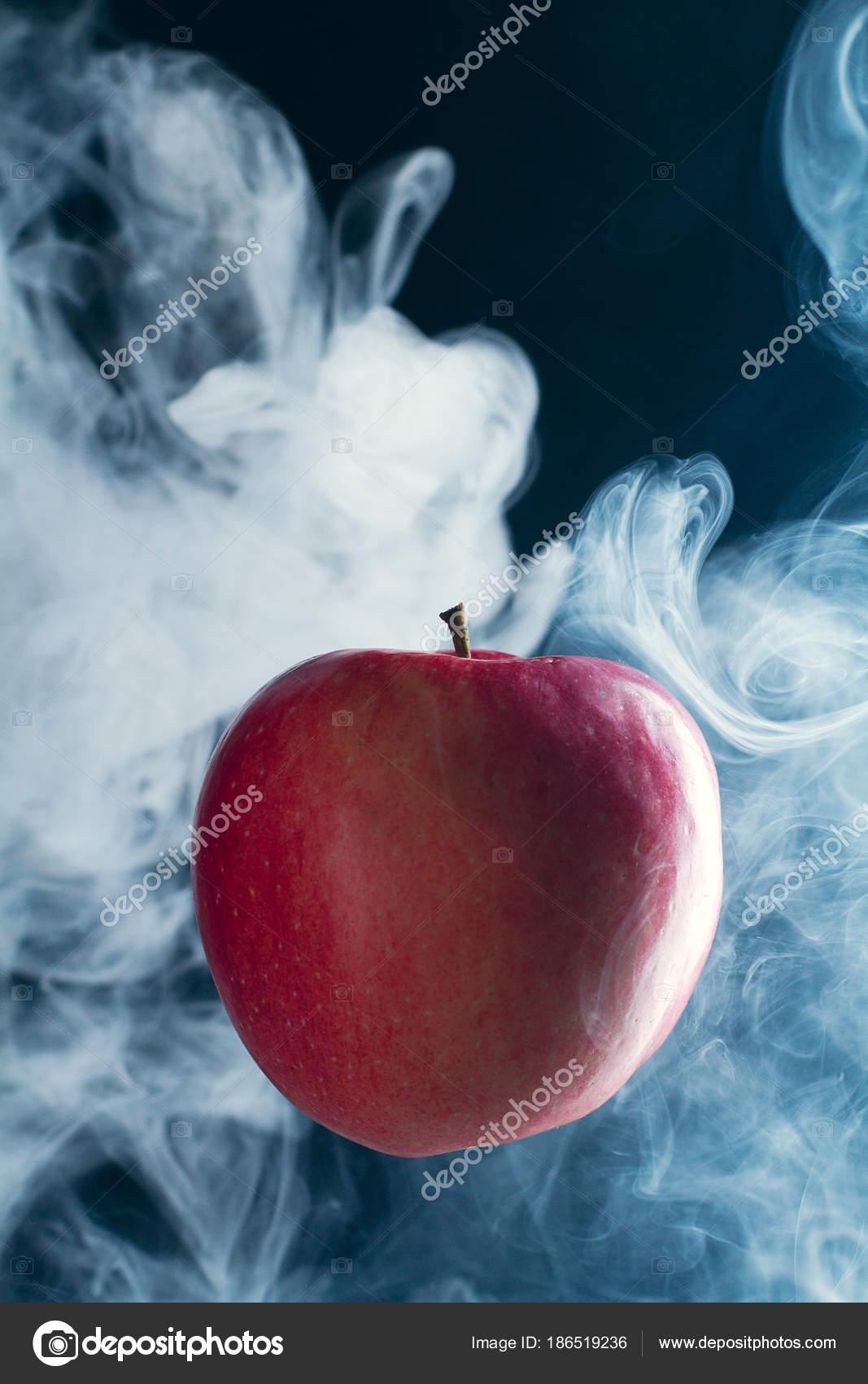 Red Apple Black Background Smoke ⬇ Stock Photo, Image by © alexbutko_com  #186519236