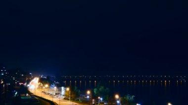 City Traffic At Night. Dnipro River