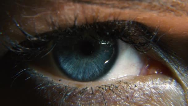 5K detailní záběr. Makro ženské lidské modré oko. Oční řasy zorničky rohovky Iris