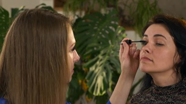 Visagistin Kosmetikerin, die Kosmetik auf das Gesicht einer Kaukasierin aufträgt. 2x Zeitlupe - 0,5 Geschwindigkeit 60 FPS
