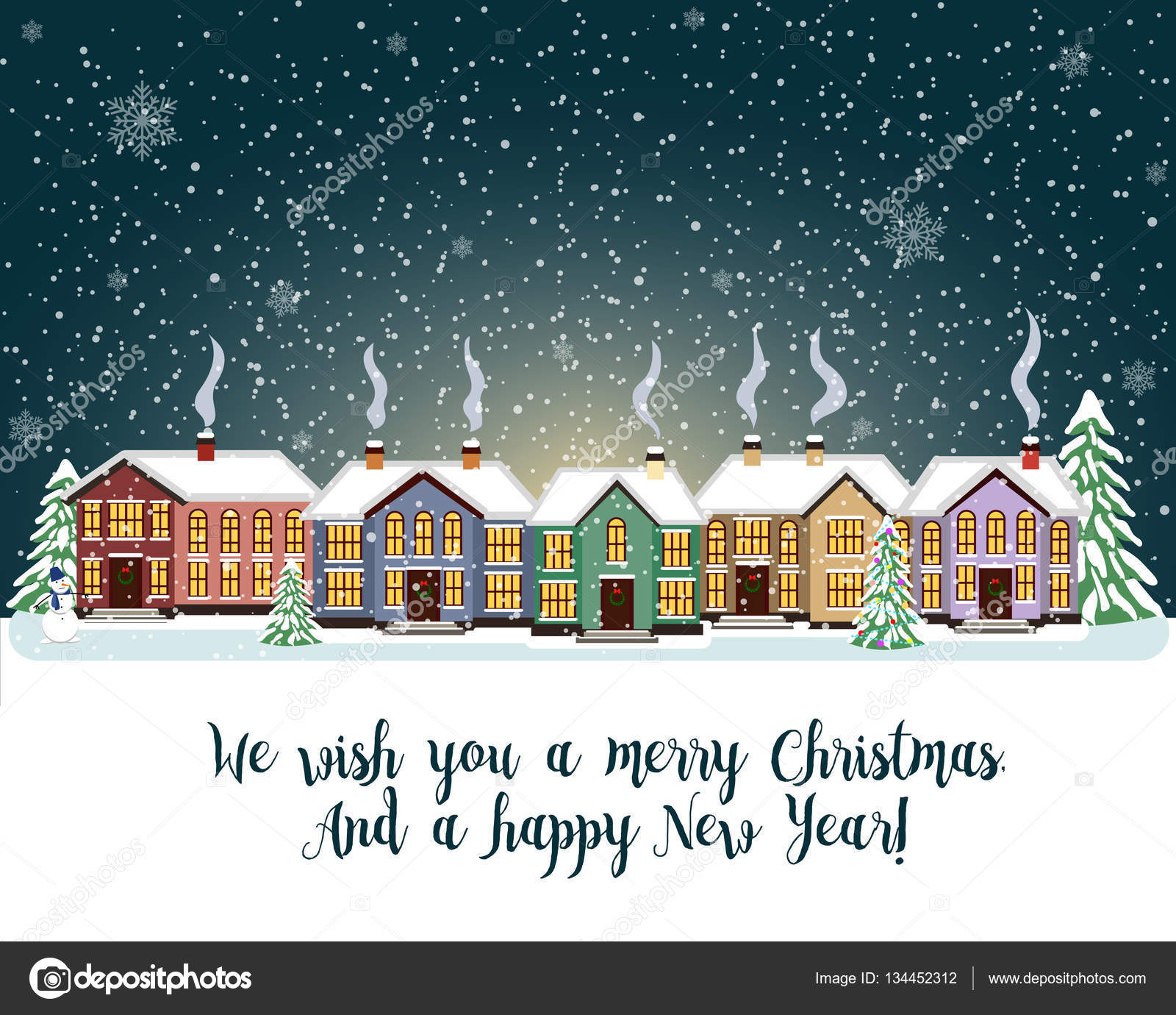 Merry christmas card. Vector illustration. Happy new year — Stock ...
