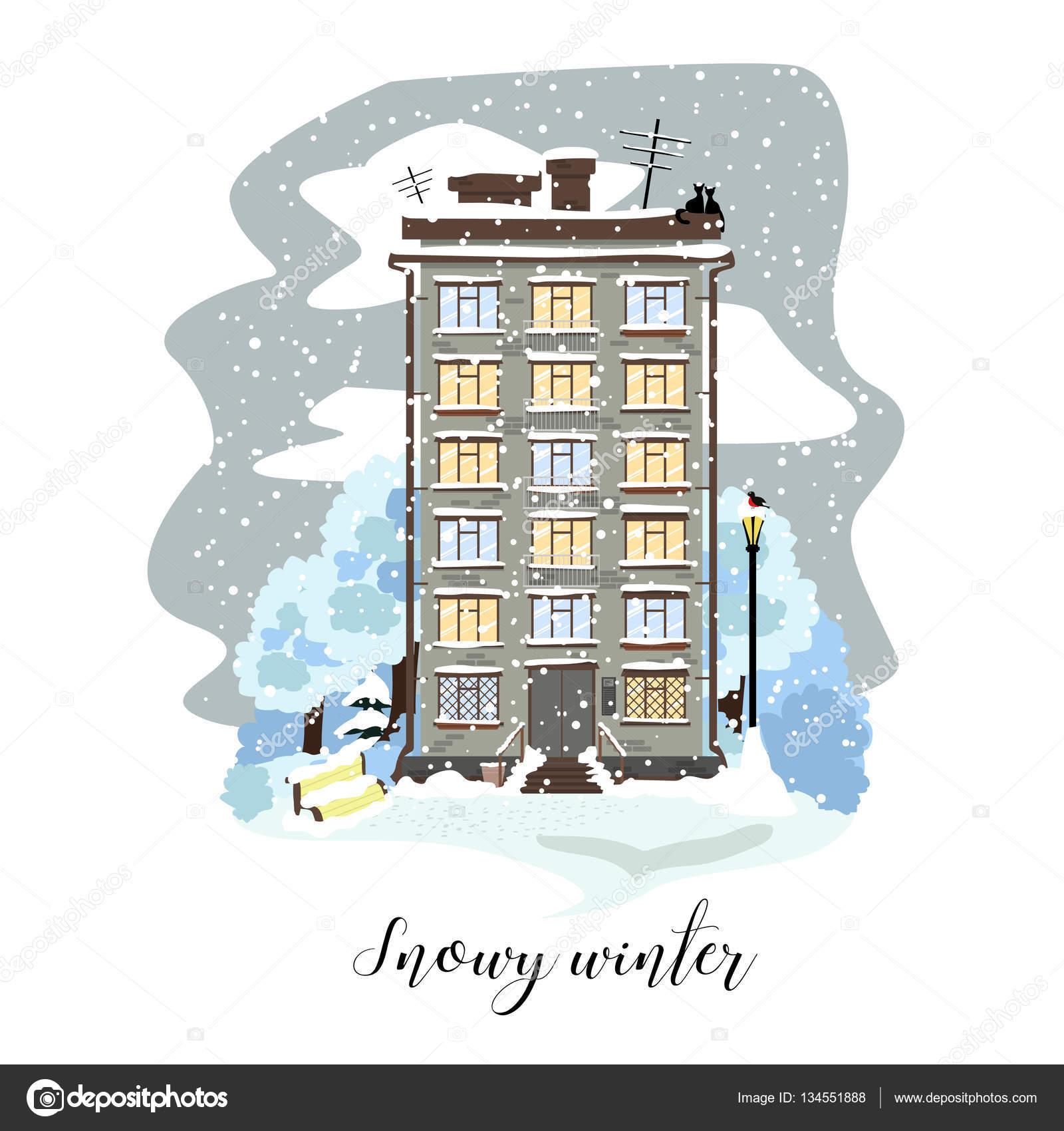 Pleasing Town House In The Vector Illustration Snowy Winter Interior Design Ideas Skatsoteloinfo
