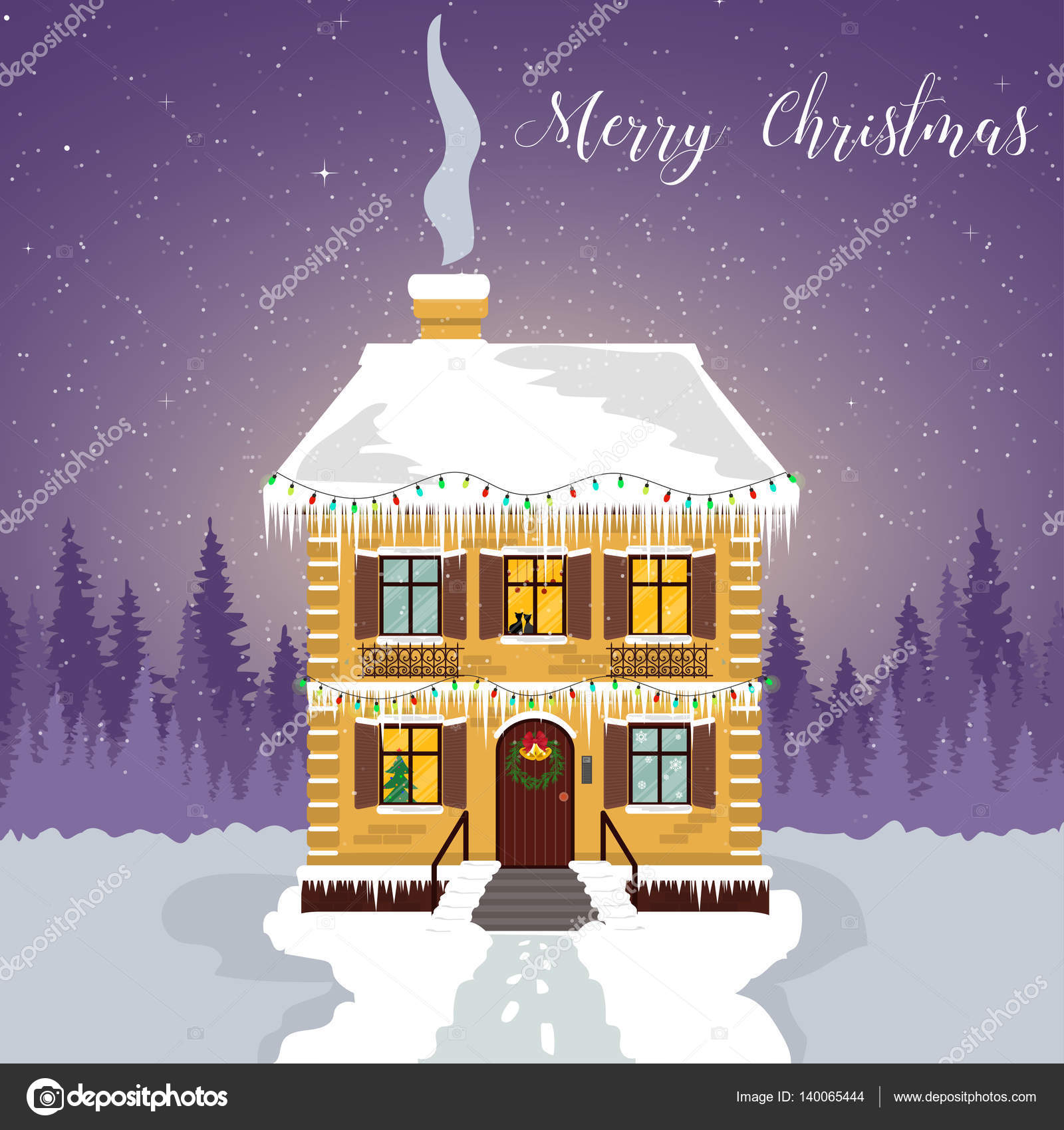 Winter Night Decorated House With Garlands And Icicles Christmas Card With A Silhouette Of The Forest And The Starry Sky Stock Vector C Bukharina 140065444