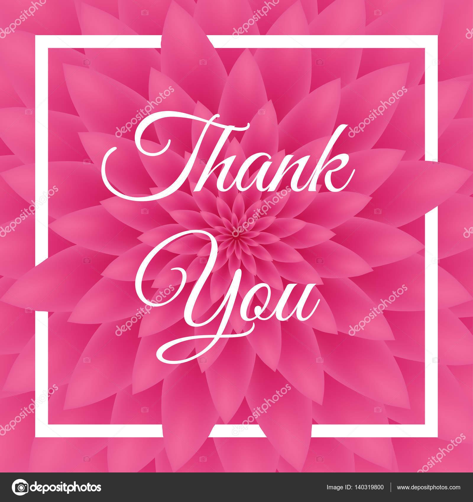 merci carte - jolie carte de voeux avec chrysanthème rose en arrière