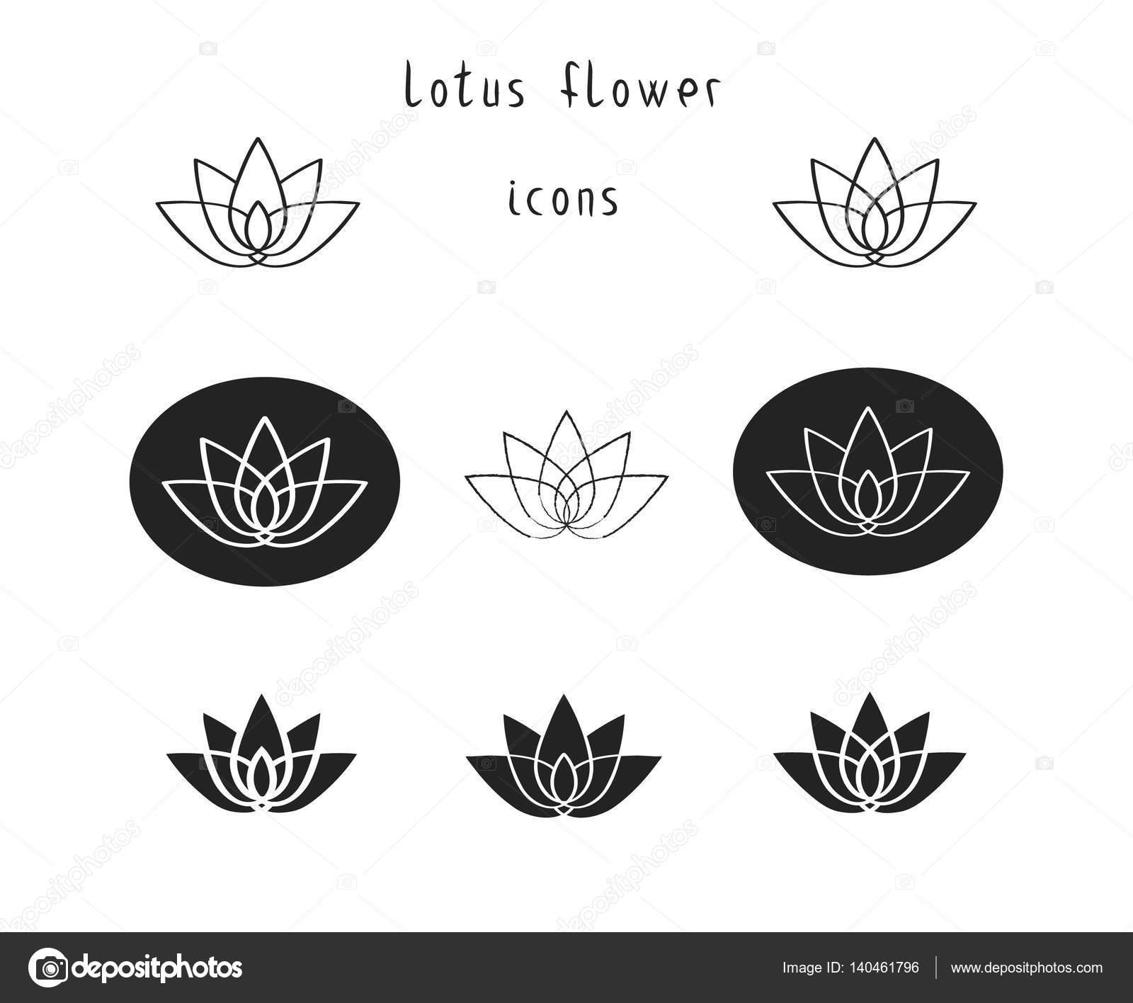 Lotus flower icons set stock vector annaboro 140461796 lotus flower icons set stock vector mightylinksfo