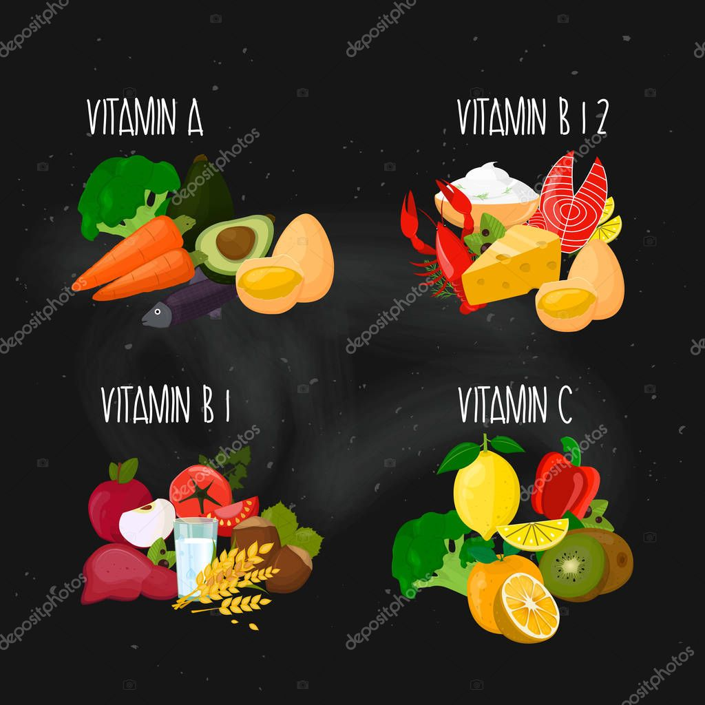 Vitamins collection. Vector.