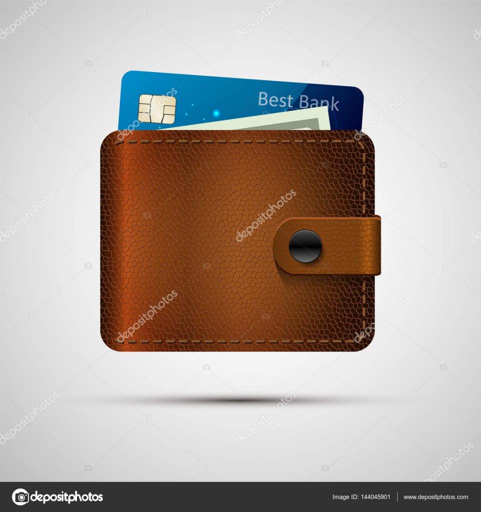 Blauwe Leren Portemonnee.Lederen Portemonnee Met Blauwe Creditcard En Groene Dollar