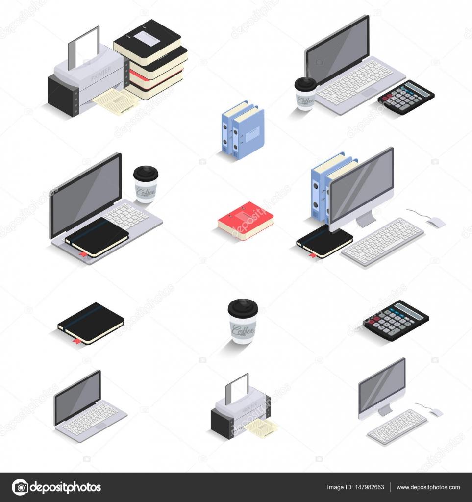 Plano 3d iconos isométricos - laptop, computadora, calculadora ...