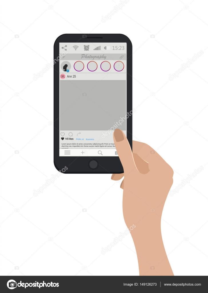 Soziales Netzwerk. Smartphone mit Foto-Frame-Vorlage. Handy Hand ...