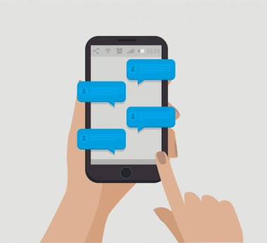 Hand holding smartphone. Chating concept. Blue speech bubbles. Online communication. Vector illustration stock vector