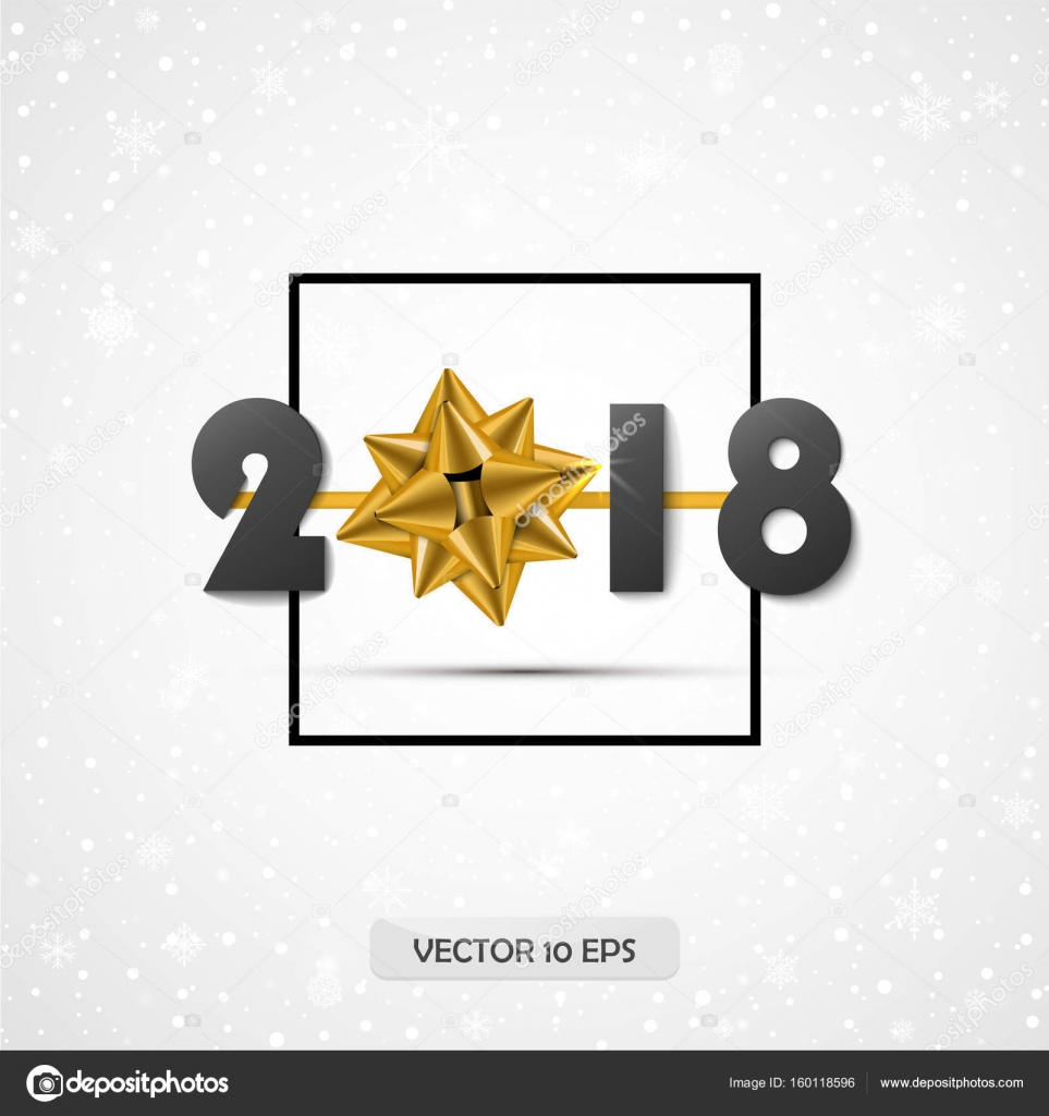 new year greeting card vector decoration background with golden ribbon and 2018 text black border vector by 13kovtungmailcom