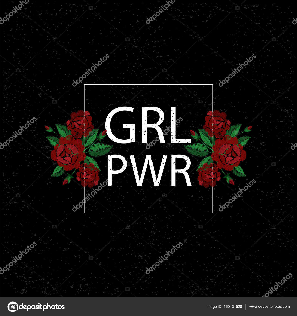 92bb4a312453 GRL κορίτσι Pwr power. Κέντημα με τριαντάφυλλα. Εικονογράφηση διάνυσμα.  Φόντο grunge. Μόδα κέντημα έμπλαστρο λουλούδια. Κορίτσι δύναμη σύνθημα —  Διάνυσμα με ...